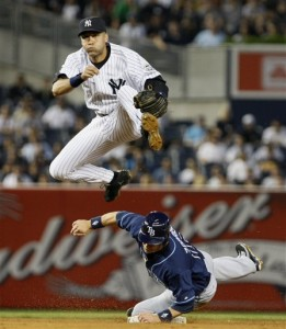 Jeter Elevates to Turn a Double Play